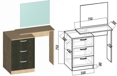 туалетный столик своими руками чертеж и схема с размерами