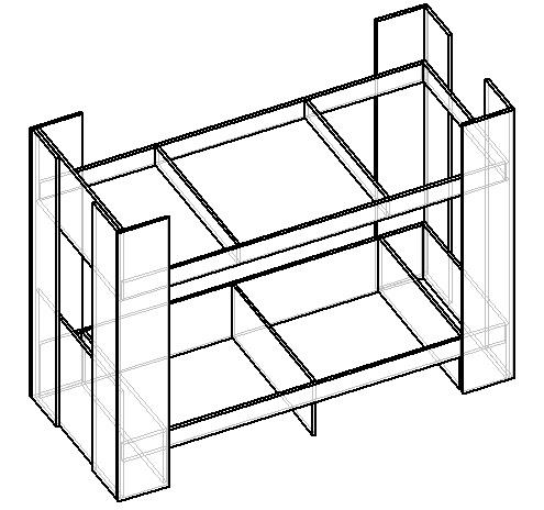 чертеж двухъярусной кровати из лдсп