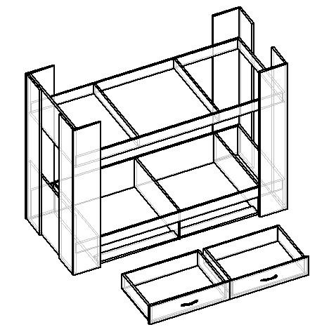чертеж двухъярусной кровати из лдсп с выдвижными ящиками