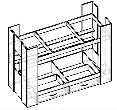 схема сборки двухъярусной детской кровати