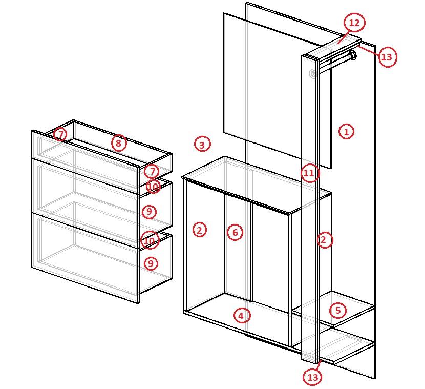 чертеж мебели для прихожей своими руками